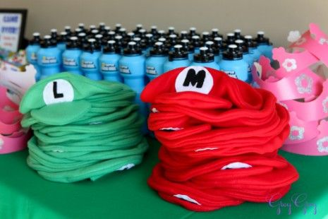 party favors! Luigi and Mario hats for boy and princess crowns for girls