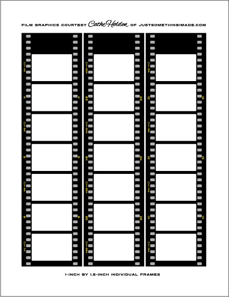 Free filmstrip printable - poster says: I designed the strips + digitally reduced/cropped photos to 1″ x 1.5″ to fit in the frames ...Adobe Illustrator. With the free printable below,  do the same with Photoshop ...possibly other image editing software, or trimmed out by hand. . .  shiny ...by laminating clear contact paper, burnishing... trimmed out the strips individually.