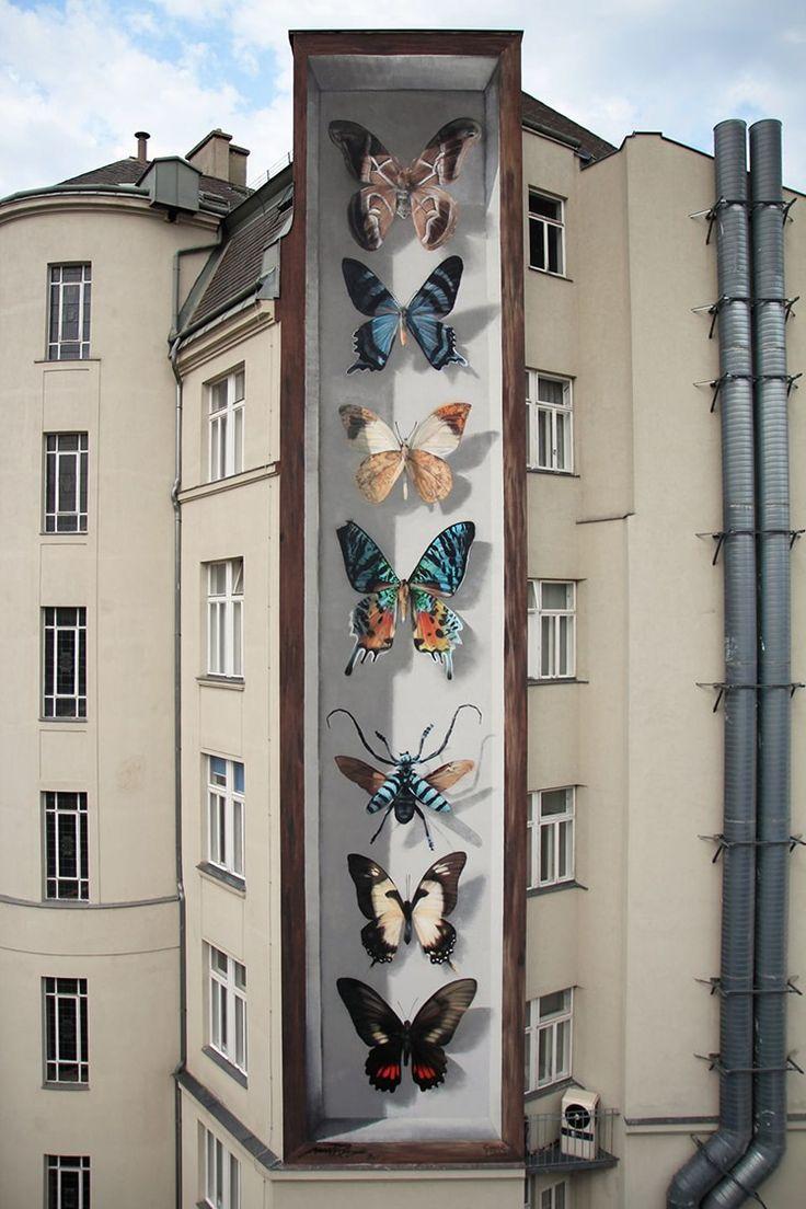 Street artist spray-paints murals of hyper-realistic butterfly specimens.