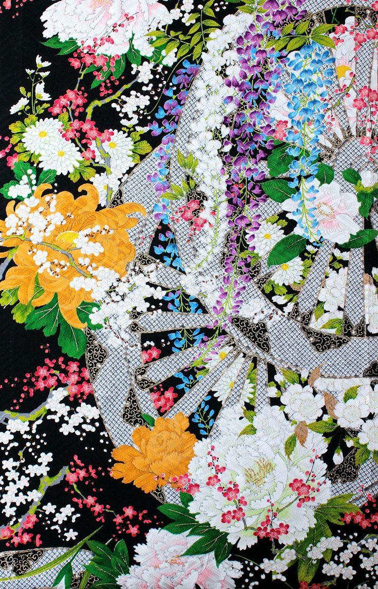 "Floral design of ""Aoi No. 1"", black Rinzu Genjiguruma four seasons"