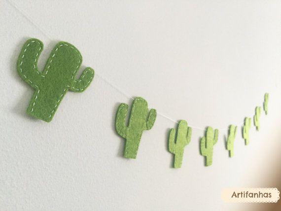 Chambre cactus guirlande feutrine décoration Cowboy Fiesta banderoles Wild west vert cactus succulentes bannière chambre d