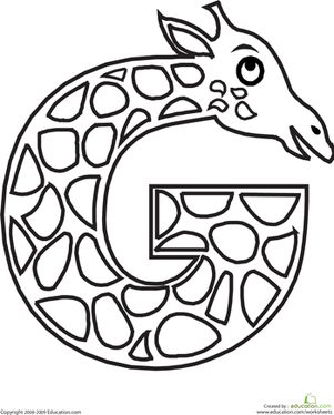 This letter G coloring page will have your child coloring a long-necked giraffe while learning the shape and sound of the letter G.