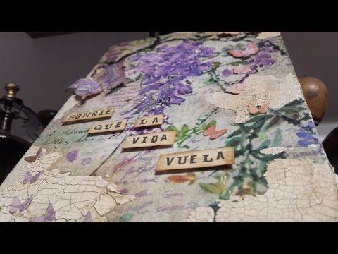 Caja decoupage con texturas y papel de arroz