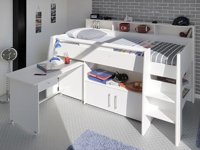 Hochbett, Kinderbett Sway 1A, 211x132x130cm weiß, Kinderzimmer Bett Schreibtisch in Möbel & Wohnen, Kindermöbel & Wohnen, Möbel | eBay