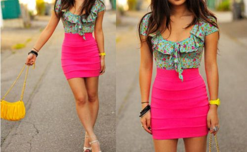 : Colors Combos, Hotpink, Pink Skirts, Cute Outfits, Summer Outfits, Hot Pink, Pencil Skirts, Spring Outfits, Bright Colors