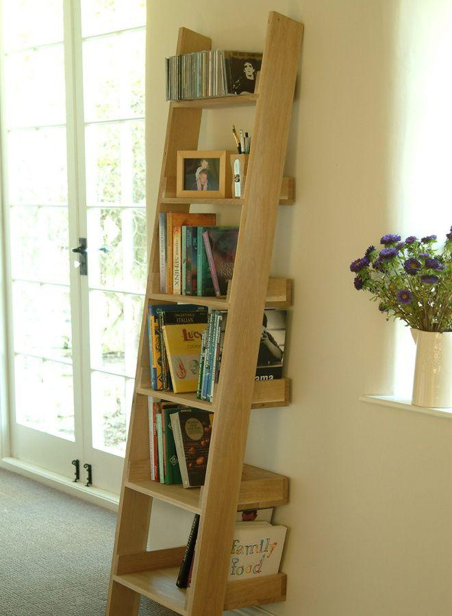 ladder style bookshelves storage ideas oak ladder. Black Bedroom Furniture Sets. Home Design Ideas