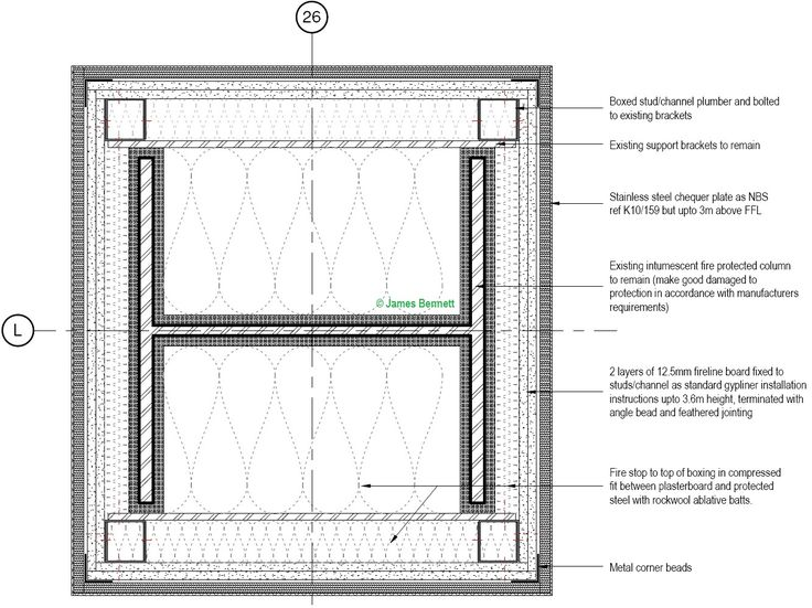 Intumescent Fire Protected Column Detail  (17th Nov 2016 - Job 101053)