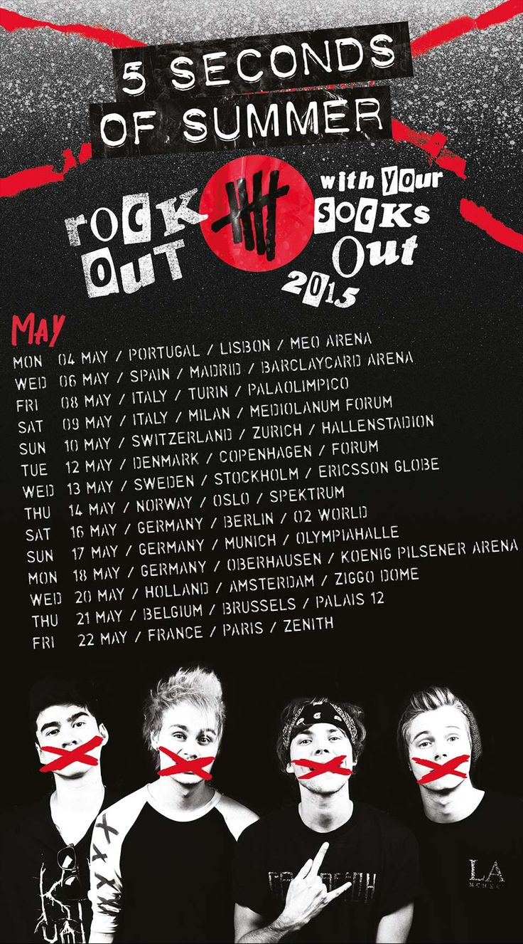 5SOS Rock Out With Your Socks Out 2015. NO ME PUEDO CREER QUE VAYA A VERLES!!!!! :))))