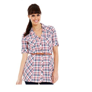 'Crossroads' CHECK BELTED SHIRT. Sale $9.95