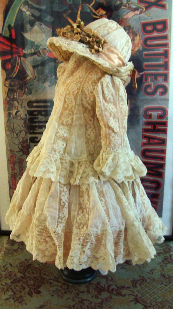 Antique Lace Dress Hat for Antique German French Dolls Jumeau Steiner Bru   eBay