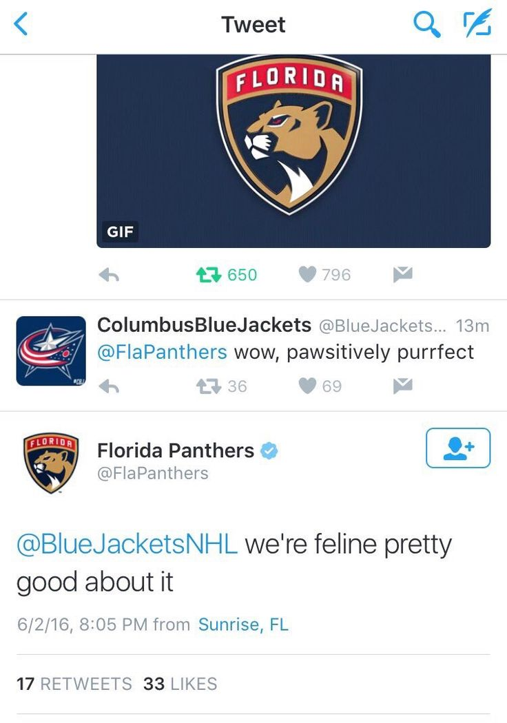 Hockey, cat puns, and sportsmanship, what more could you need? #NHL #Panthers #BlueJackets #Puns