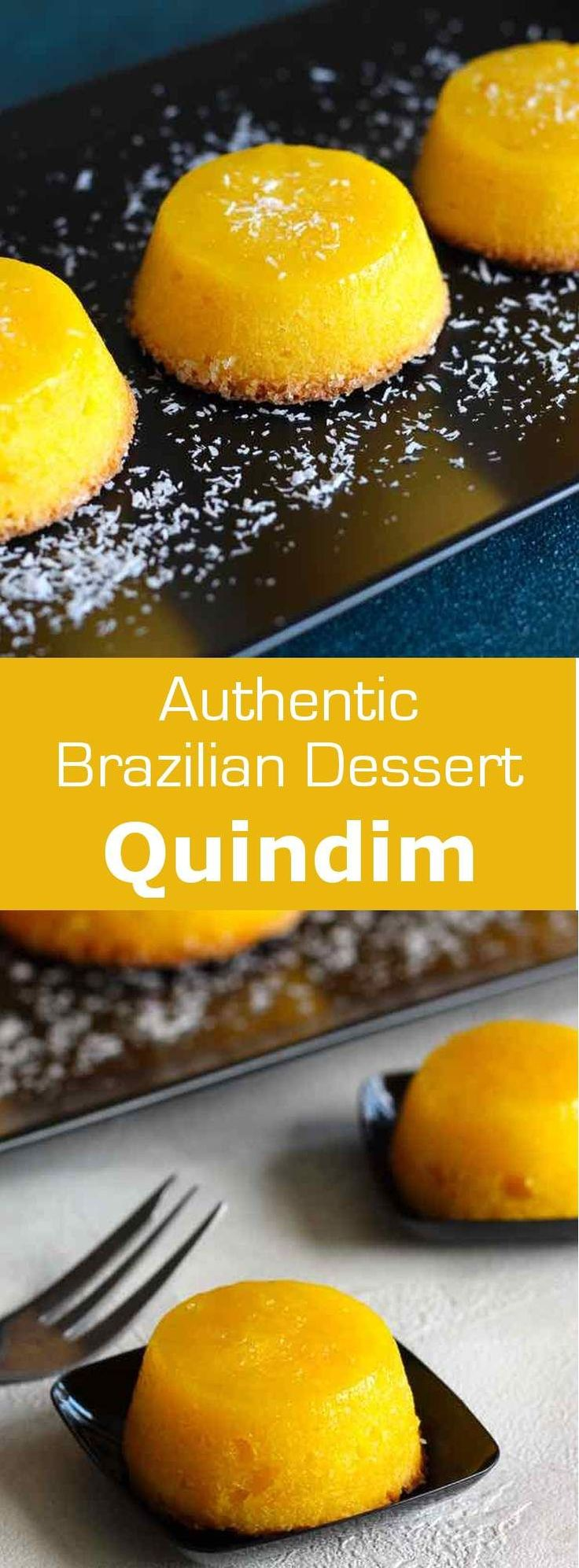 Quindim is a succulent traditional Brazilian dessert originally from Portugal prepared with egg yolks, sugar and coconut. #dessert…
