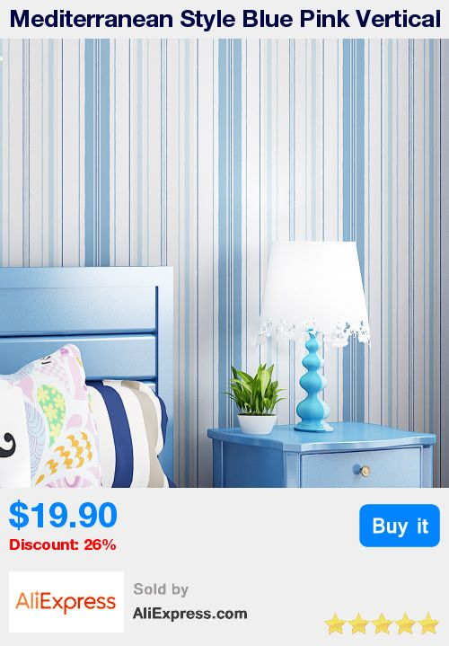 Mediterranean Style Blue Pink Vertical Striped Non-woven Wallpaper For Kids Room Bedroom Children Room Wall Decoration Wallpaper * Pub Date: 09:11 May 18 2017
