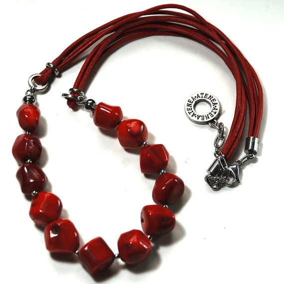 Red coral nuggets necklace with red leather by DesignsbyAtenea