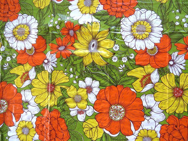 Retro Mod Vinyl Picnic Tablecloth Fringe Flower Power Yellow Green Vintage NEW