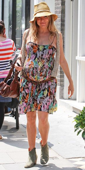 Sienna Miller's signature boho-chic translates to her maternity style. Check out the gallery for more of her looks.