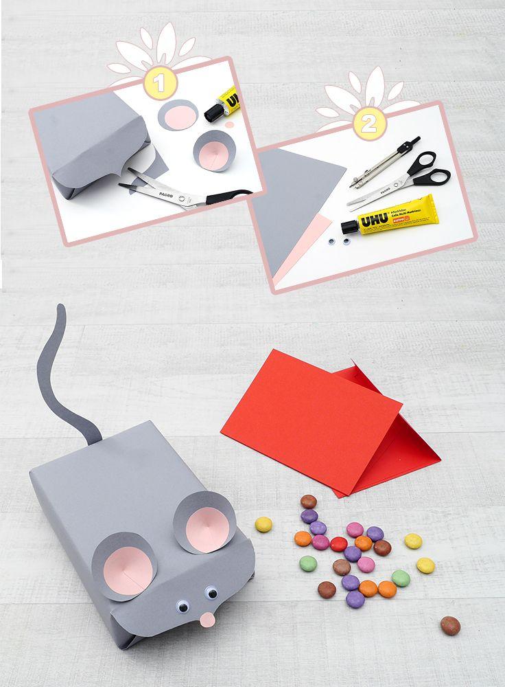 Tierische Geschenkverpackung! Die süße Verpackung im Maus Design gelingt Ihnen im Handumdrehen. Auf www.allesschule.at zeigen wir Ihnen alle Bastelschritte.