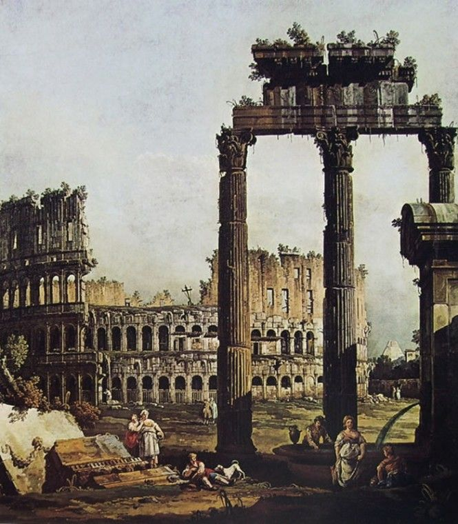 Capriccio con il Colosseo-1743-Bernardo Bellotto-Capriccio romano con il Colosseo e i resti del tempio di Vespasiano-1743-olio su tela-Galleria Nazionale di Parma, Italia