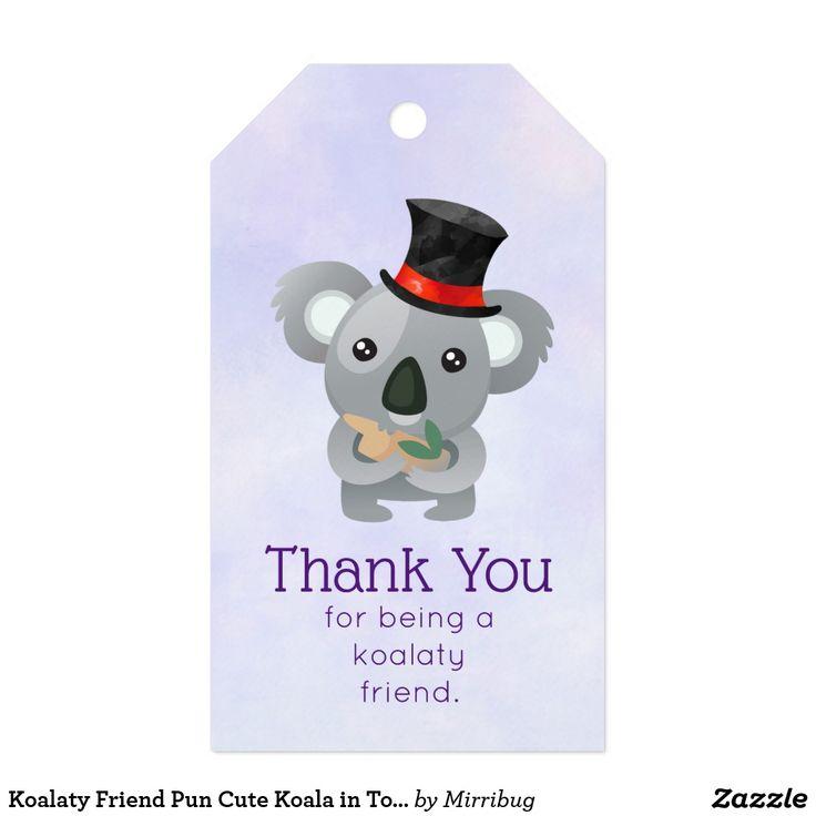 Koalaty Friend Pun Cute Koala in Top Hat Thank You Gift Tags