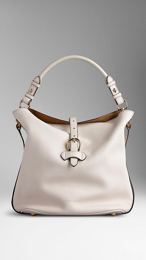 Burberry Natural Medium Buckle Detail Leather Hobo Bag - Slouchy hobo bag in grainy leather. Foldover open top with equestrian-inspired buckle closure, hand-painted edges. Discover the women's bags collection at Burberry.com