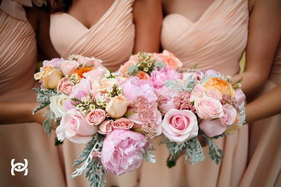 Love love love these nude BM dresses. Romantic Rose Bouquets Wedding Flowers Photos on WeddingWire