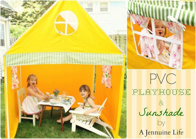 A Jennuine Life: Create Memories With Kids: PVC Playhouse & Sunshade