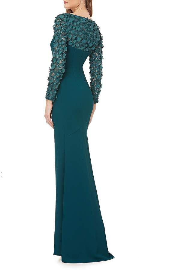 5113944c1d5 Carmen Marc Valvo Long Sleeve Fleurette Crepe Sheath Gown  Valvo Long Carmen