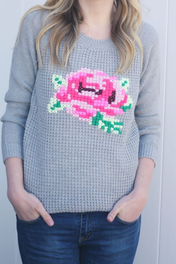 Floral Cross Stitch Sweater DIY Blumen Kreuz Strick Pulli