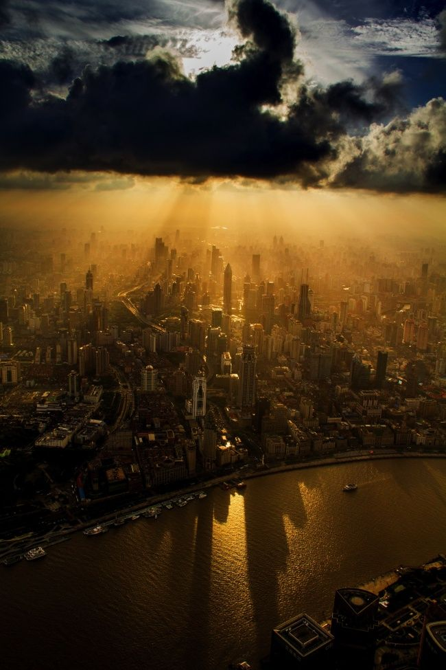 A crane operator captured Shanghai from above.