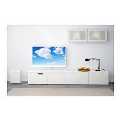 "IKEA - BESTÅ / UPPLEVA, Combi/TV 48""/s audio2.1, blanc/Selsviken brillant/blanc…"
