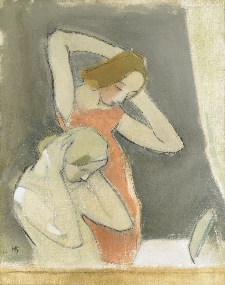 In front of the Mirror - Helene Schjerfbeck 1937 Finnish 1862-1946 Oil on canvas. 85 x 69 cm