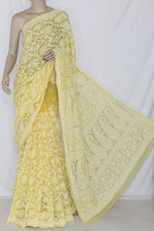 Yellow Allover Hand Embroidered Lucknowi Chikankari Saree (With Blouse - Georgette) 14355
