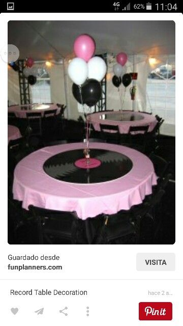 Used Similar Idea W Table Cloth U0026 Balloons Combined W Record Cupcake Stand.