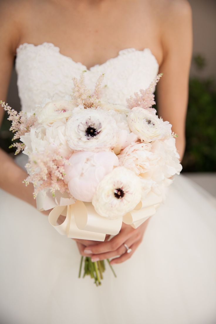 pink and ivory bouquet with ranunculus, peony and astilbe by Dana of Karen's Garden