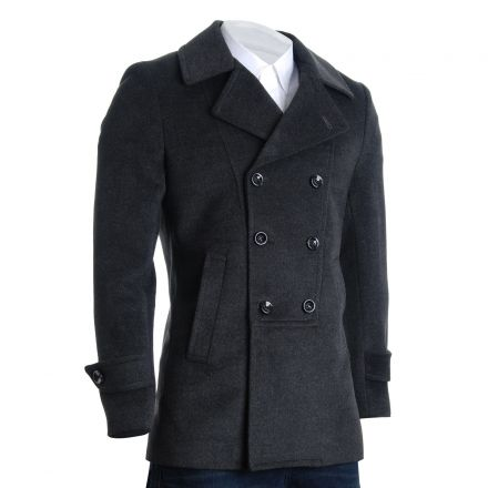 Mens Designer Double Breasted Winter Coat Wool Blends