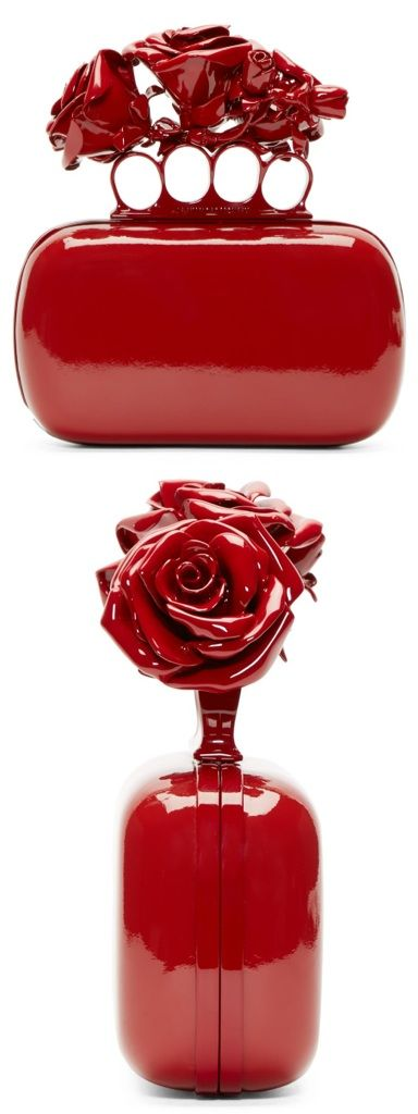 Alexander McQueen Red Patent Rose Knuckle Box