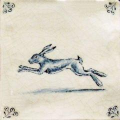 English Leaping Hare tile delft. English delftware is tin-glazed pottery made in the British Isles between 1550 &18th century. It acquired its name from the Dutch village of the same name, where it was being widely produced. Germany, England, and France potters also produced Delft, which can be distinguished by the difference in shape, design & porcelain.