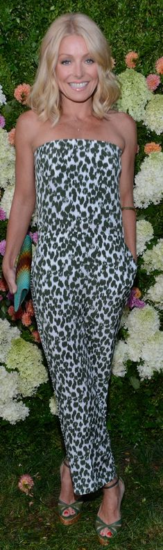 Green and white print strapless jumpsuit