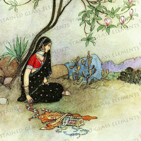 Warwick Goble ceramic decal, exotic girl, princess, Indian girl, 3.94 x 3.94 inch, 10 x 10cm, firing temperature 1400-1562 ºF, 760-850 ºC door StainedGlassElements op Etsy