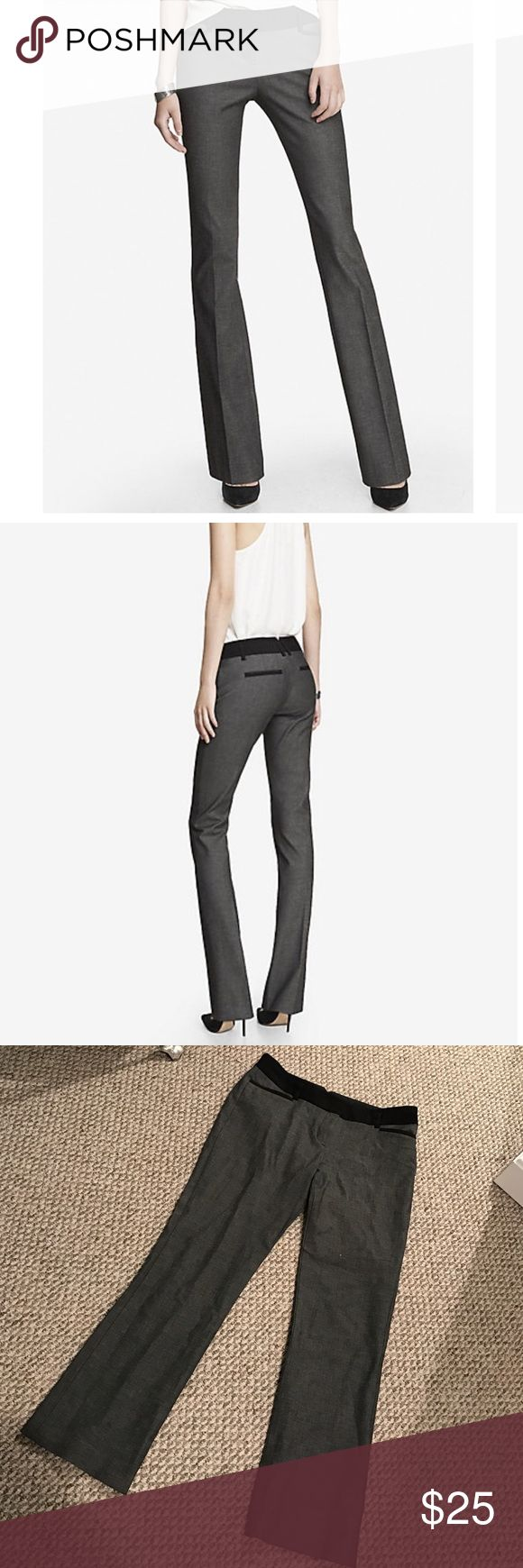 Gray and Black Columnist Barely Boot Cut Pants Only worn once! Beautiful Columnist Barely Boot cut pants. Perfect for work with a blouse or blazer! Gray pants with black detailing. Very flattering pants! Express Pants Boot Cut & Flare