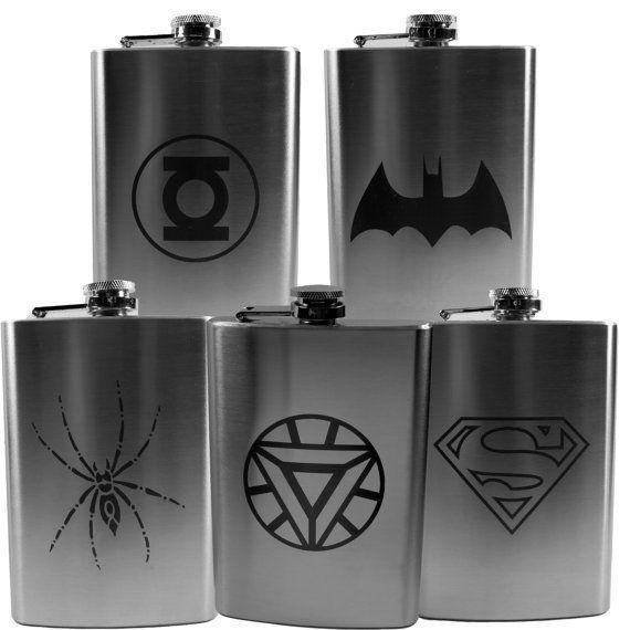 Comic Hip Flask set (set of 5 flasks) Wedding party favor Best man Groomsman L1