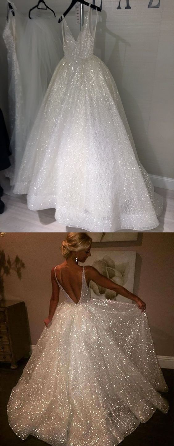 A-line V-neck Floor-Length Tulle Wedding Dresses With Sequins HX0066 A-line V-neck Floor-Length Tulle Wedding Dresses With Sequins HX0066 – Megan Porter