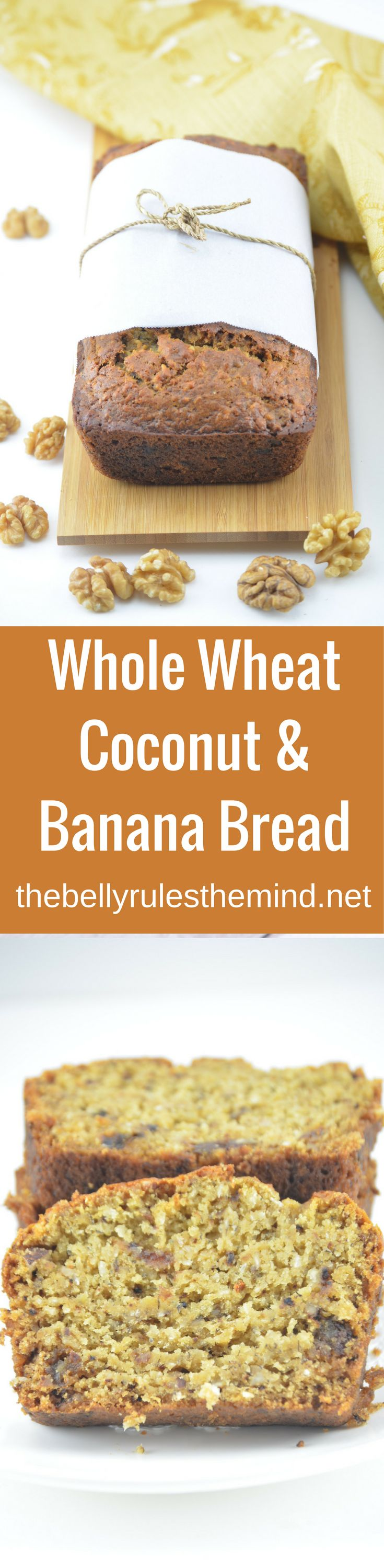 This quick, easy one bowl cake recipe made with whole wheat flour , bananas  & Coconut. Its so light, soft and moist banana cake without eggs. Whole wheat Coconut Banana Bread . www.bellyrulesthemind.net