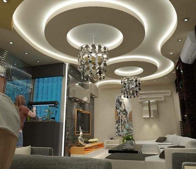 صور ديكورات أسقف جبس مودرن Gypsum Ceiling Chandelier Ceiling Lights