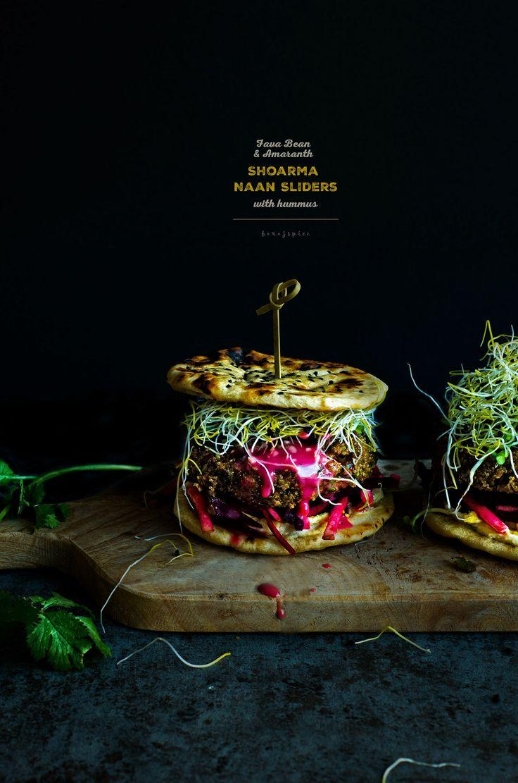 Fava Bean and Amaranth Shoarma Naan Sliders with Hummus Recipe (Vegan, Gluten-Free)