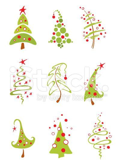 Modern christmas trees royalty-free stock vector art