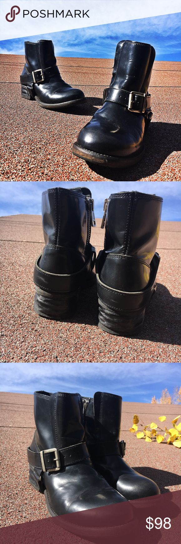"""All Saints Jules Boots Black leather boots.. nice tread ..heel:1 1/4"""" Height:7"""" top opening:5"""" across   side zip entry.. size 37 few signs of wear ..perfectly broken in..wide toe box... fits more like a 6.5 no trades All Saints Shoes Ankle Boots & Booties"""