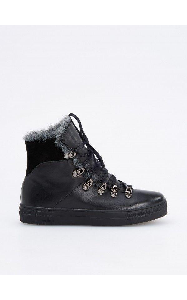 e5228e589c90a Zateplené kožené topánky, Kožené a semišové topánky, Čierna, RESERVED