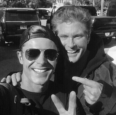 """A Baywatch now and then selfie. Zac Effron and """"The Hoff"""" David Hasslehoff."""