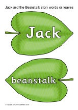 Jack and the Beanstalk story words on leaves